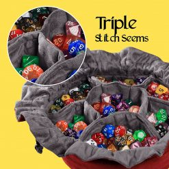 Immense Dice Bags with Pockets – Red – Capacity 150+ Dice – Great for Dice Hoarders