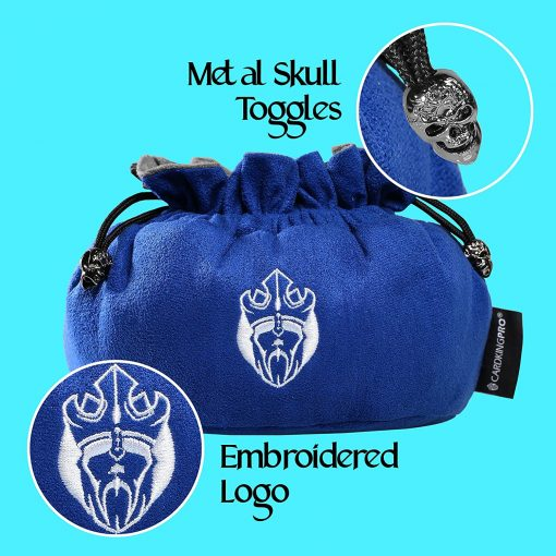 Immense Dice Bags with Pockets – Blue – Capacity 150+ Dice – Great for Dice Hoarders